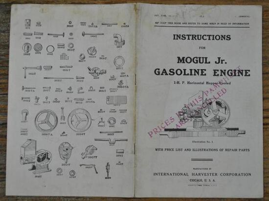 IHC Mogul Jr Gasoline Engine Instruction Book