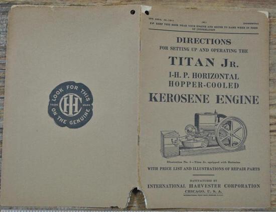1915 Titan Jr Directions Book