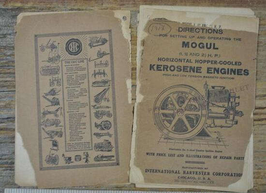 1918 IHC Mogul 1 - 2 1/2 HP Instruction Book