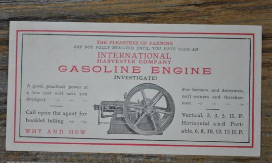 IHC Gasoline Engine Single Sheet Flyer
