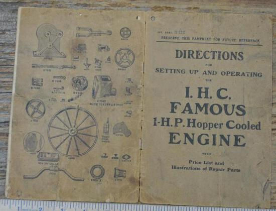 IHC Famous 1 HP Hopper Cooled Gas Engine Instruction Book