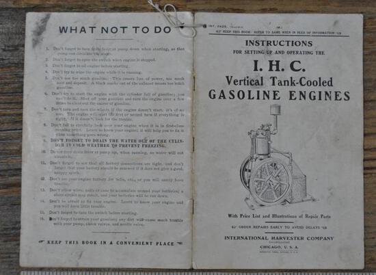 IHC Famous Vertical Gas Engine Instruction Book