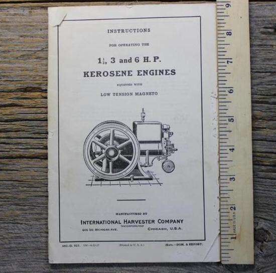 1927 IHC M 1 1/2- 6 HP Instruction Book