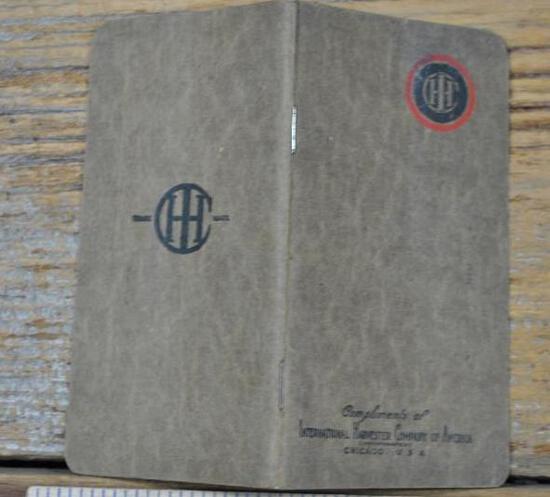 IHC Bib Pocket Notebook. Mint unused