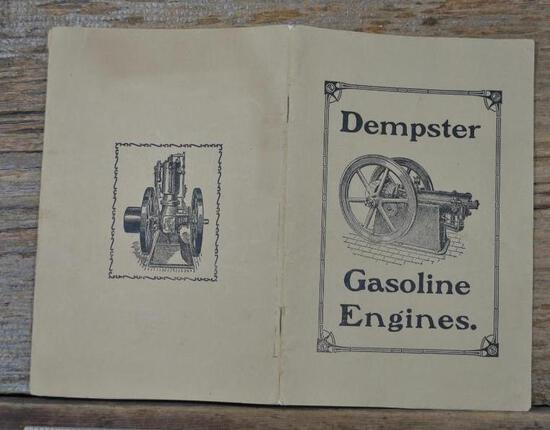 "1907 Dempster Gasoline Engine Full Line Catalog. 38 page, 6"" X 9"". Very rare, Mint condition!"