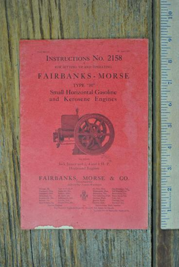 Fairbanks & Morse Instructions #215B Type H Jack Junior 2 - 6 HP Book