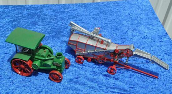 Rumely Oil Pull Diecast Tractor & McCormick-Deering Threshing Machine