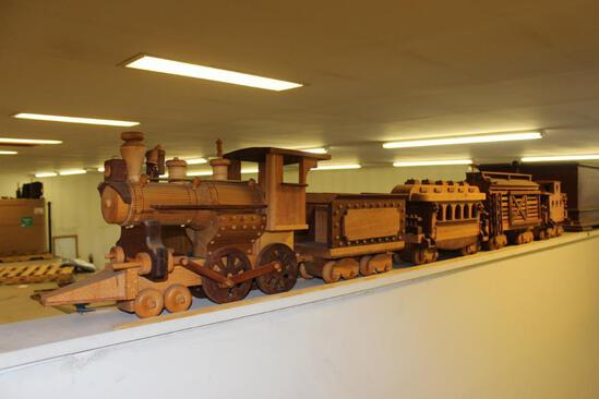 Hand Carved Wood Train & Rolling Stock