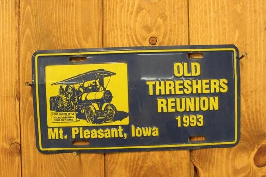 Commemorative License Plate, Old Thresher's Reunion