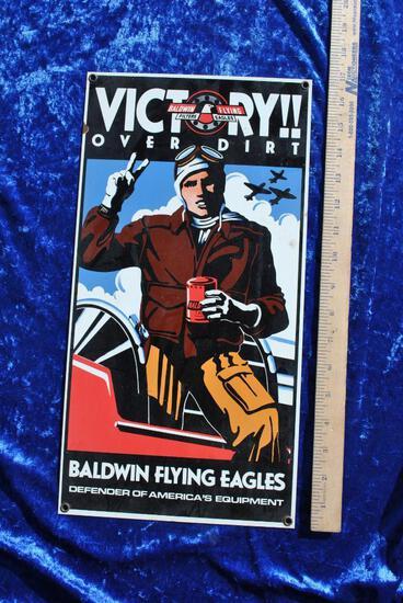 Baldwin Flying Eagles Porcelain Sign
