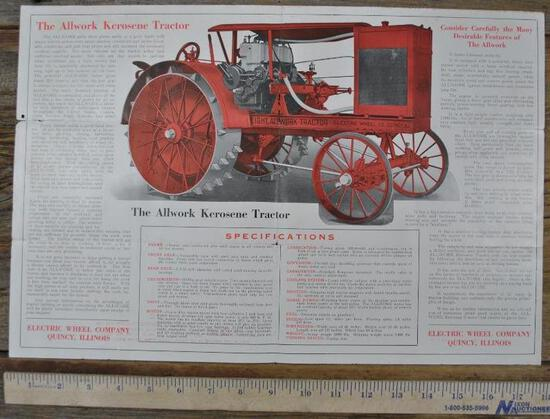 Electric Wheel Co Allwork Tractor Flyer