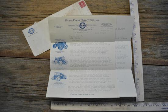 1924 Fitch Four Drive Tractor Co. 2 Page Letter & Envelope