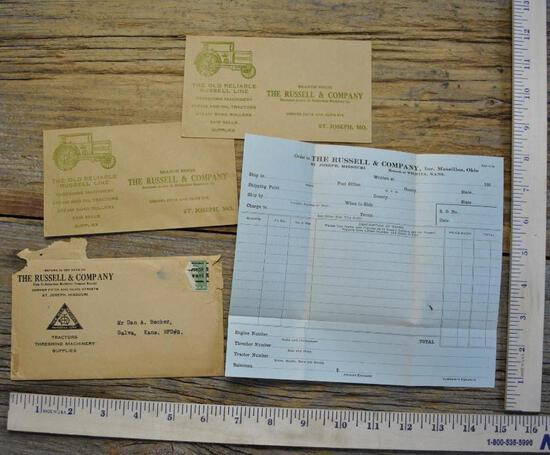 Russell & Company Steam Engine Order Blank & Envelope