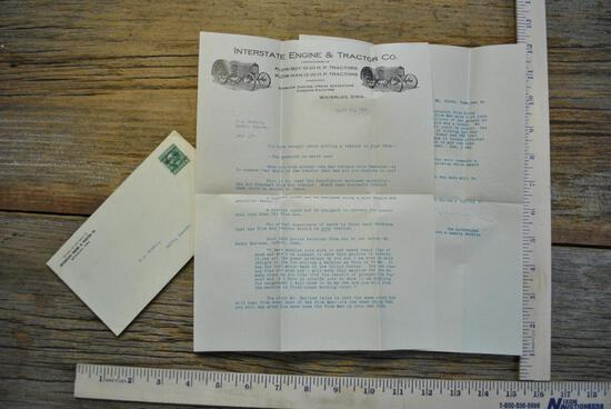 Letter from Interstate Engine & Tractor Company, 1917.