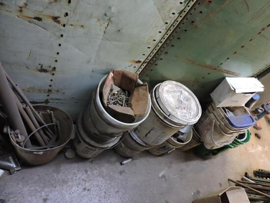 Lot buckets pipe fittings, stock and misc