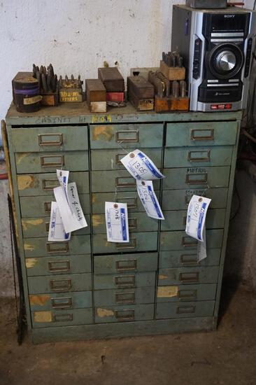 Assorted Metal Stamps and Cabinet