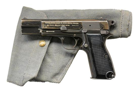 BRITISH L9A1 FN HI POWER SEMI AUTO PISTOL.