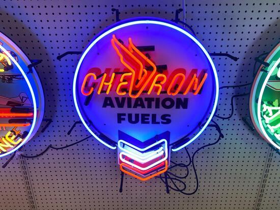 CHEVRON AVIATION FUEL NEON SIGN