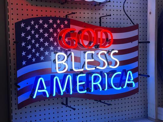 GOD BLESS AMERICA NEON SIGN