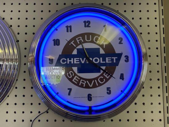 CHEVROLET TRUCK SERVICE NEON CLOCK