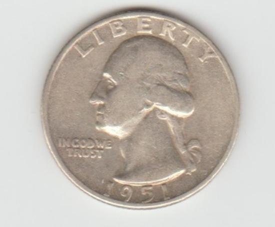 1951D SILVER WASHINGTON QUARTER