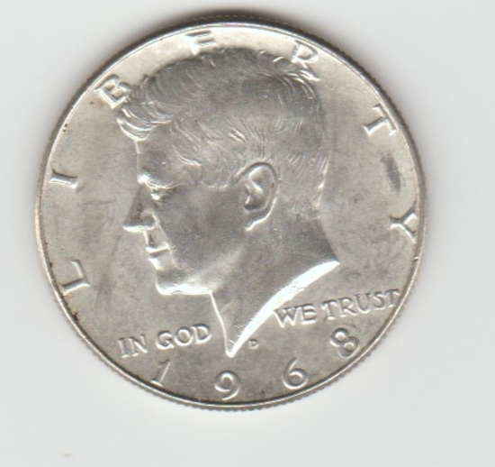 1968D SILVER KENNEDY HALF DOLLAR
