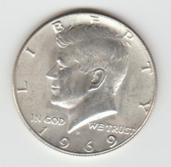1969D SILVER KENNEDY HALF DOLLAR
