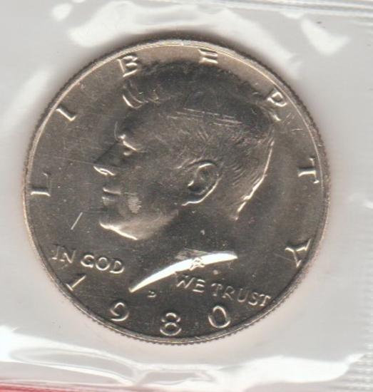 1980D UNC. KENNEDY HALF DOLLAR