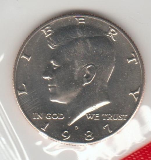1987D UNC. KENNEDY HALF DOLLAR