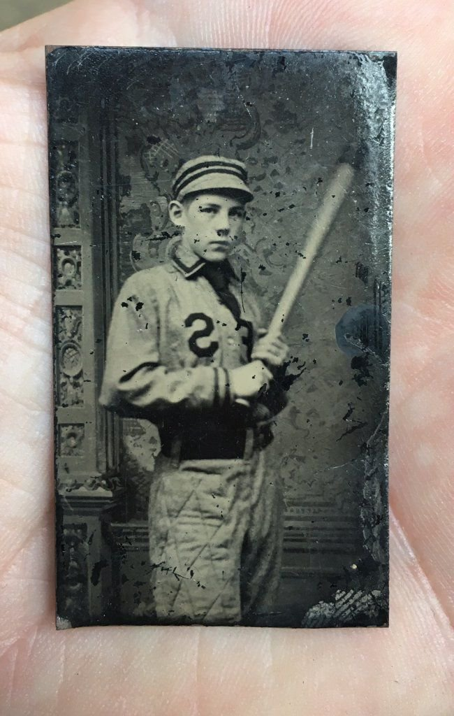 Antique Tintype baseball photograph VERY OLD Early 1900s