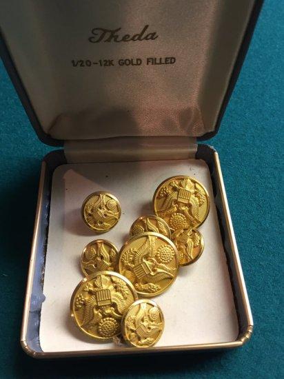 Theda 12K Gold Filled American Eagle National Emblem Badges
