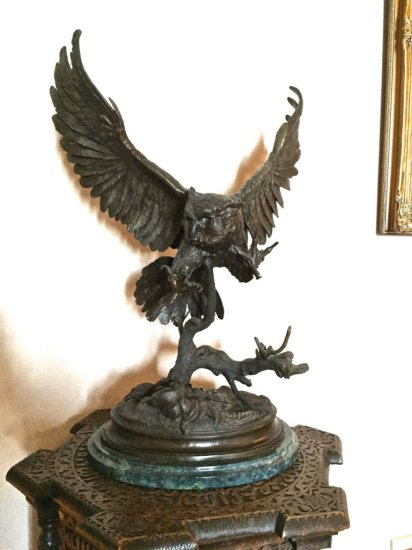 Jules Moigniez Bronze Owl