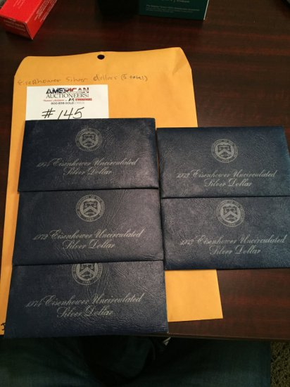 Lot of 5 US Eisenhower Silver Dollar Coin Collection