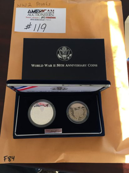 WWII 50th Anniversary Two Coin Proof Set