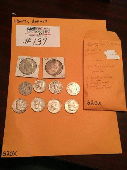 US Liberty Silver Dollar Coin Collection
