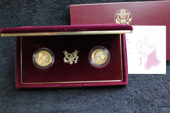 1999 $5 Gold George Washington Proof & Uncirculated Gold Five Dollar Set OGP