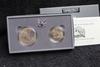 1991 2 pc. Mt. Rushmore Commemorative Unc Silver Dollar & Half   BOX & COA