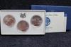 1984 P+D+S 3pc Olympic Commemorative Silver Dollar UNC Set Box & COA