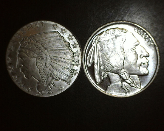 2- 1/2 oz Silver Indian Chiefs/ Buffalo Silver Rounds BU