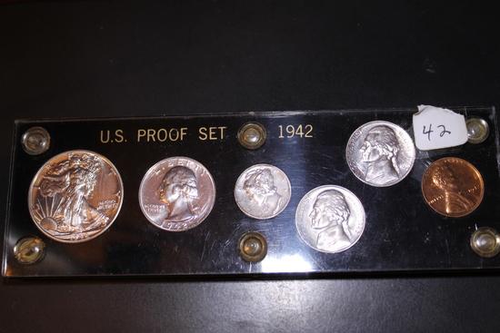 1942 Proof Set - Walking Liberty Half - Washington Quarter- Mercury Dime-Jefferson 5c-Lincoln 1c