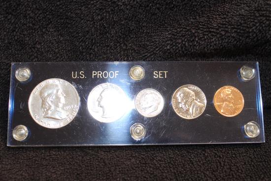 1953 Proof Set - Franklin Half - Washington Quarter- Roosevelt Dime-Jefferson 5c-Lincoln 1c