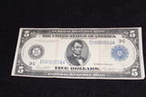 1914 $5 Federal Reserve Note Silver Certificate Large Note FR 855a VF
