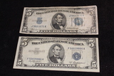 1934 & 1953 $5 Silver Certificates