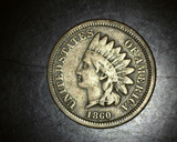 1860 Copper Nickel Indian Head Cent F