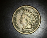 1862 Copper Nickel Indian Head Cent F