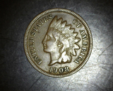 1908 S Indian Head Cent F+