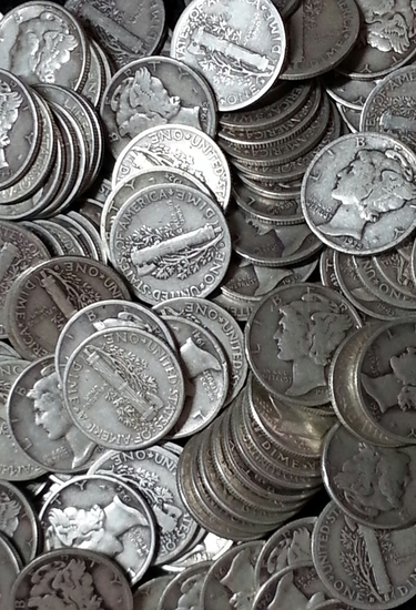 100 Silver Mercury Dimes