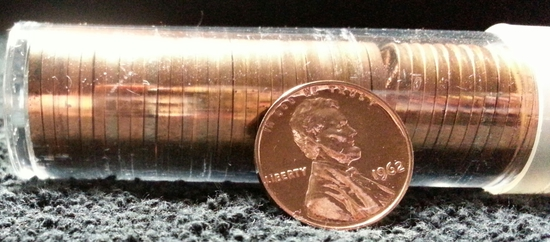 Roll 1962 Lincoln Cents Proof
