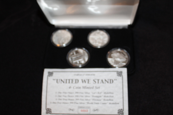 """UNITED WE STAND"" 4 Coin Minted Set Proof Ltd. Ed #3 out of 2001"