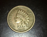 1859 Copper Nickel Indian Head Cent VF+